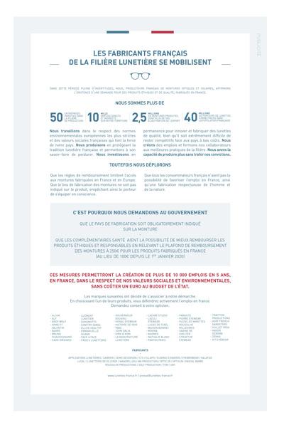 Manifeste des lunetiers français, agence de communication lunetiers.