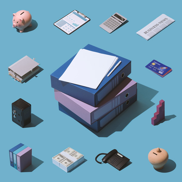 Isometric business, banking and finance items collage and pile of folders